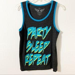 Savvy Sleeveless Party Sleep Repeat Graphic Tank